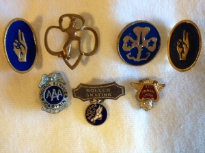 Various pins (Scouts, Safety Patrol, Roller Skating and Choir)